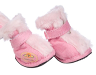 Pink Fur Dog Booties
