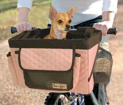 Pink Black Pet Bike Basket