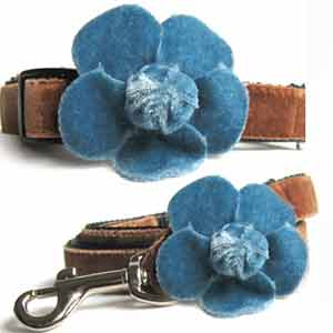 Dog Collar Leash Set Blue Velvet Camilla Teacup - Small