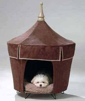 Brown Chocolate Dog Tent Bed & Micro Suede Chocolate Pet Bed/ Tent/ House - 4-Legged