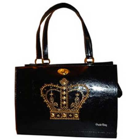 Luxury Black Pet Carrier With Gold Crown