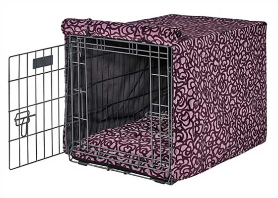 Luxury Dog Crate Cover Mulberry Microvelvet Purple Cove