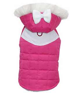 Quilted Hot Pink Dog Girl Parka