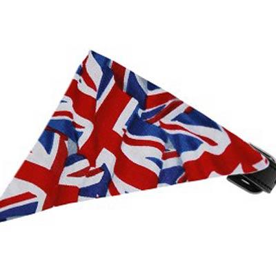 British Union Jack Flag Pet Bandana on Black Collar