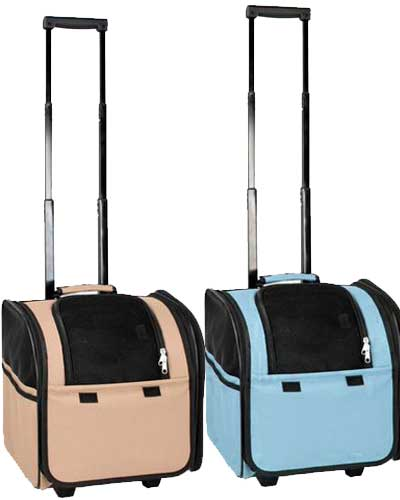 Airline Approved Wheeled Pet Carrier Blue Or Brown