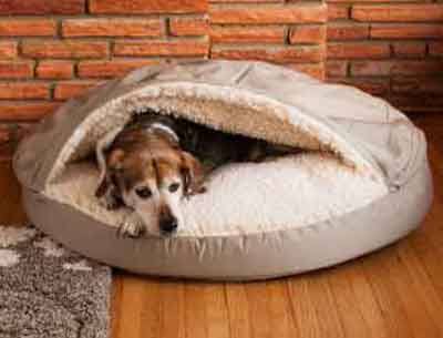 orthopedic dog cave bed khaki