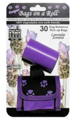 Classic Purple Dog Walking Pouch and 2  Scented Pick-Up Rolls