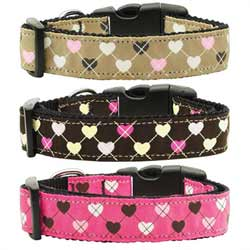 Cat & Dog Argyle Hearts Nylon Collars & Leads