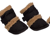 Black Sherpa and Suede Dog Booties