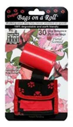 Classic Red Dog Walking Pouch and 2 Scented Pick-Up Rolls