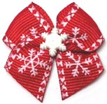 Christmas Morning Snowflakes Dog Hair Bow