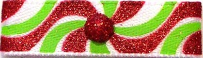 Christmas Red and Green Swirling Flat Dog Hair Bow