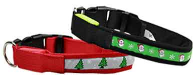 LED Christmas Nylon Dog Collars