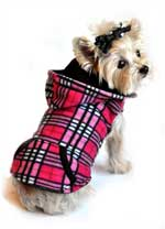 4 in 1 Raspberry Pink Plaid Dog Fleece Hoodie and Vest