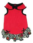 Red Cotton Dog Dress Leopard