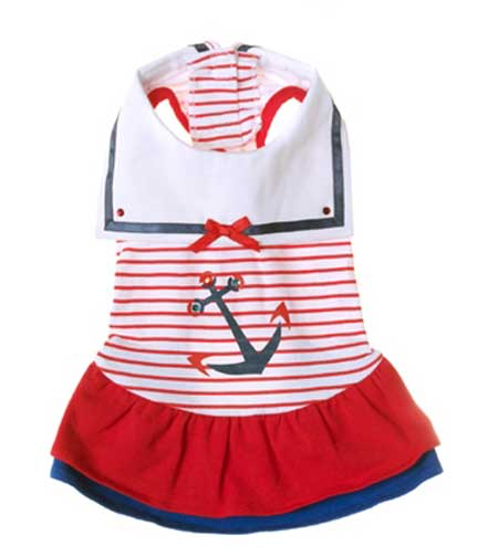 Red Sailor Day Dress also fits long body dogs