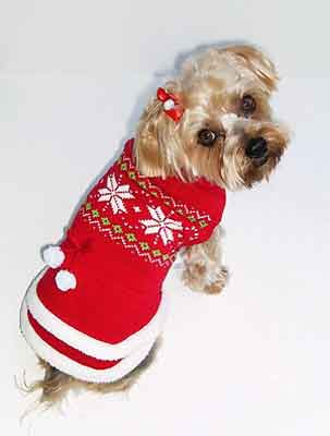 Dog Sweater Dress Fair Isle Red