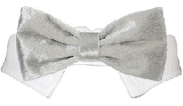 Classic Velvet Dog Bow Tie Collar Silver